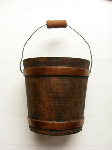 Wood Bucket - Rustic bucket, winter decor, wedding party favor, copper bucket - DabHands