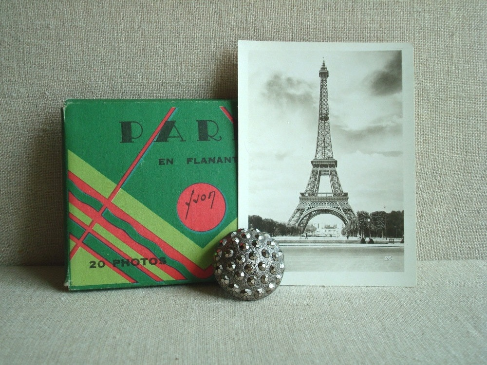 Souvenir Paris photo cards & collectible silver glass button