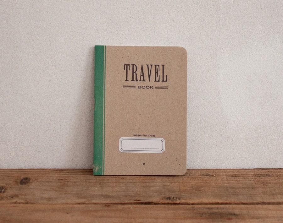 TRAVEL BOOK - green - letterpress printed notebook - vintage design - ARMINHO