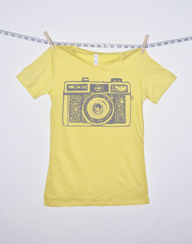 camera tshirt holga yellow tshirt  womens
