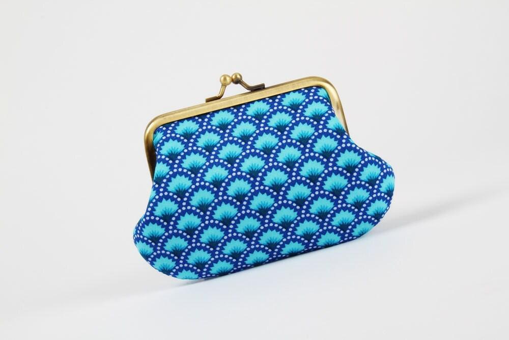 Daddy purse - Petit Pan Wasabi bleu - metal frame pouch - octopurse
