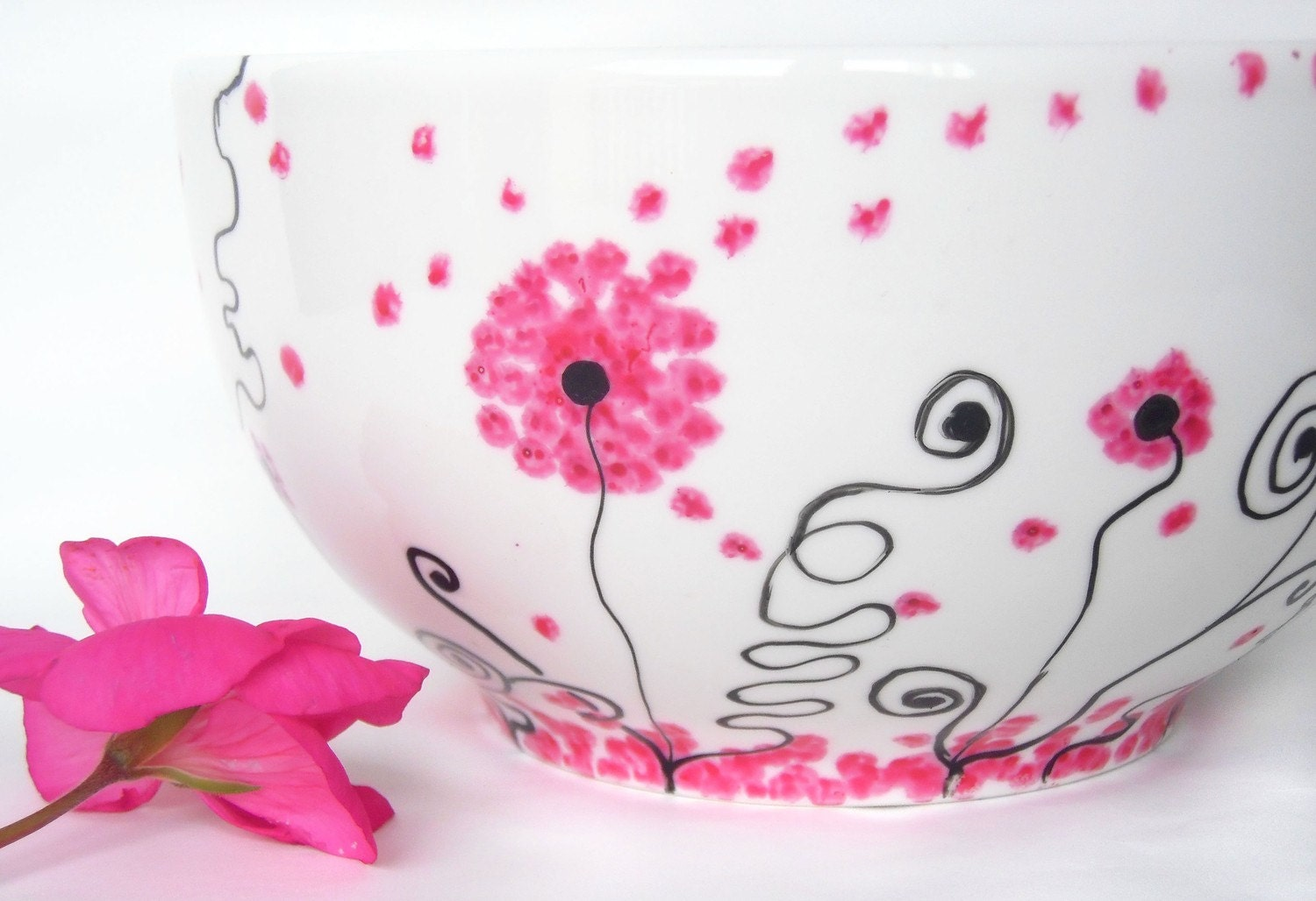 Hand painted breakfast bowl Rosy dandelion in pink, black and white flowers
