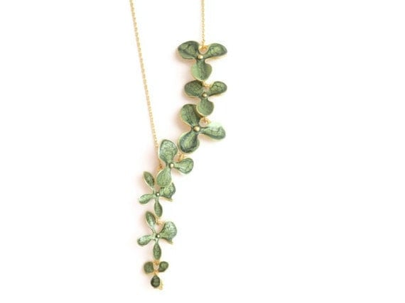 Hunter Green Hand Painted Flower Necklace - oBocreations