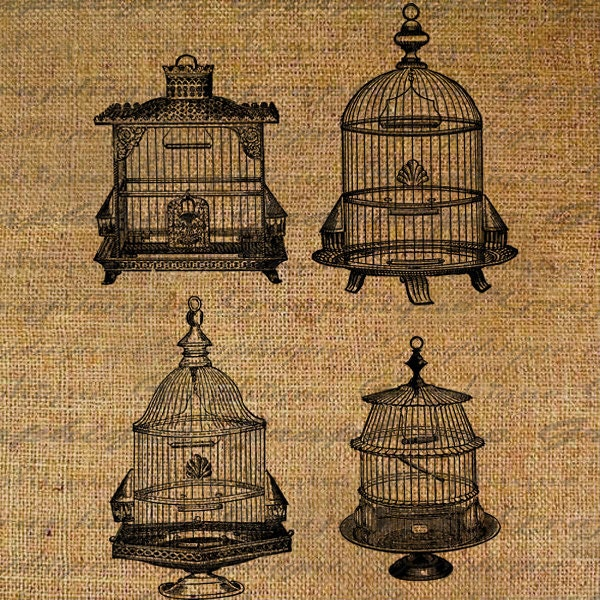 Four Antique Bird Cages Birdcage Birds Digital Image Download Transfers To Pillows Totes Tea Towels Burlap No. 2513