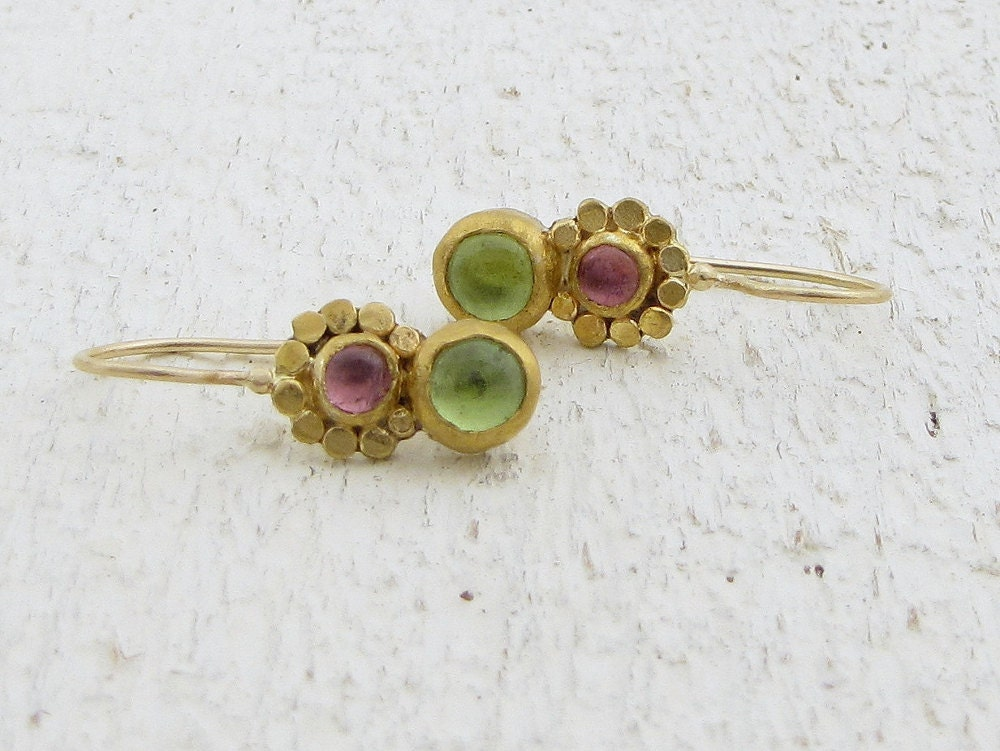 Peridot and Tourmaline Earrings - 24k Solid Gold Earrings with Pink Tourmaline and Green Peridot Gemstone - Omiya