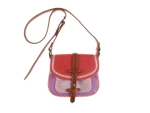 Bold Buckaroo bag in coral and pink leather