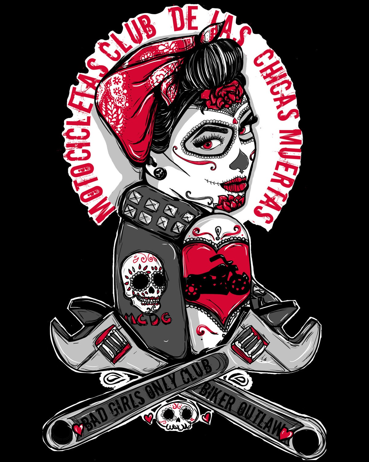 Rockabilly Pin Up Girl Biker Tattoo Flash Day of the Dead Girl Outlaw