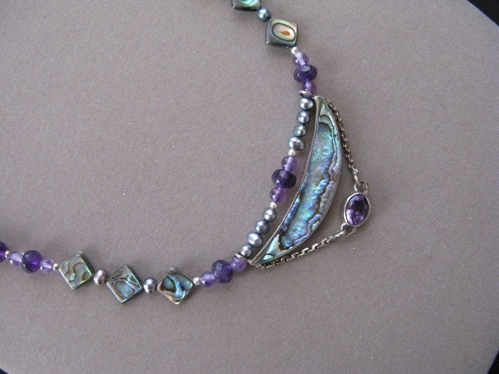 Handmade Abalone and Amethyst Necklace and Earrings