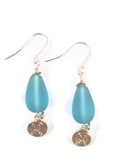Earrings, Blue Sea Glass, Tear Drop Shaped Blue Beach Glass with Silver Spiral Charm - designsbydawnrene