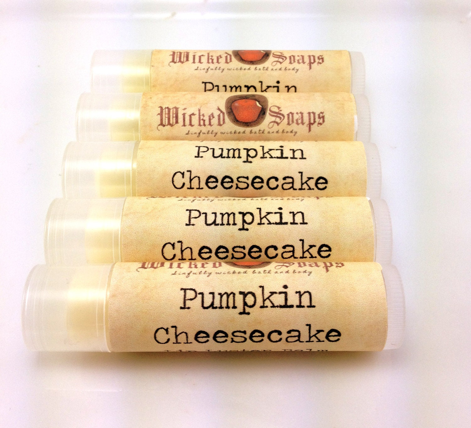 Lip Balm - Pumpkin Cheesecake Lip Balm - Cocoa Butter Beeswax Lip Balm by WickedSoaps - WickedSoaps