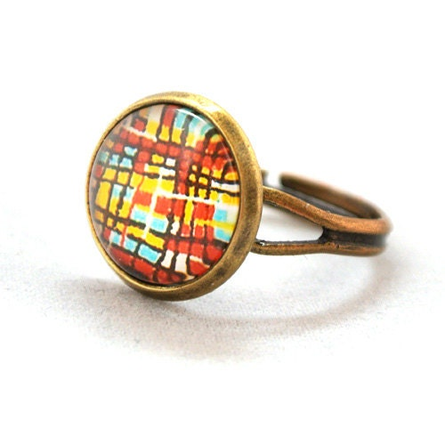 ON SALE Ring Colourful Retro Collage Cool Abstract Pop Pattren Jewelry Unique Gifts Kawaii