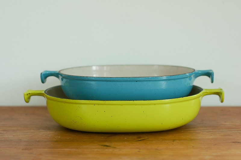 Le Creuset gratin dish, 1973 Enzo Marsi designed in yellow green