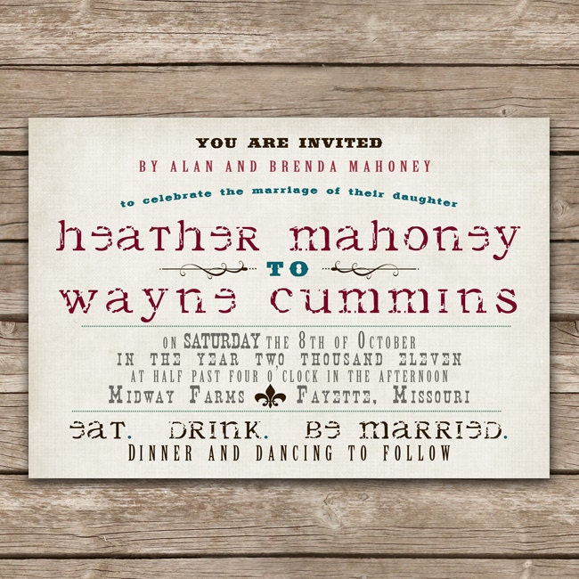 Custom Vintage Western Wedding Invitation From SimplySmittenDesigns