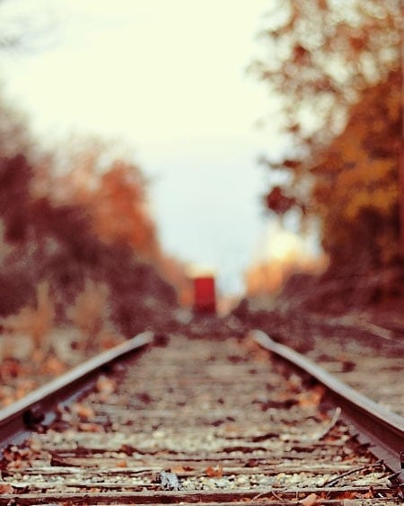 Rustic Train Photograph- Train Song print 8x10 - whimsical autumn red country travel photography - ellemoss