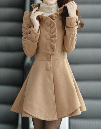 Khaki / Red /Blue wool women coat women dress coat Apring Autumn Winter --CO056