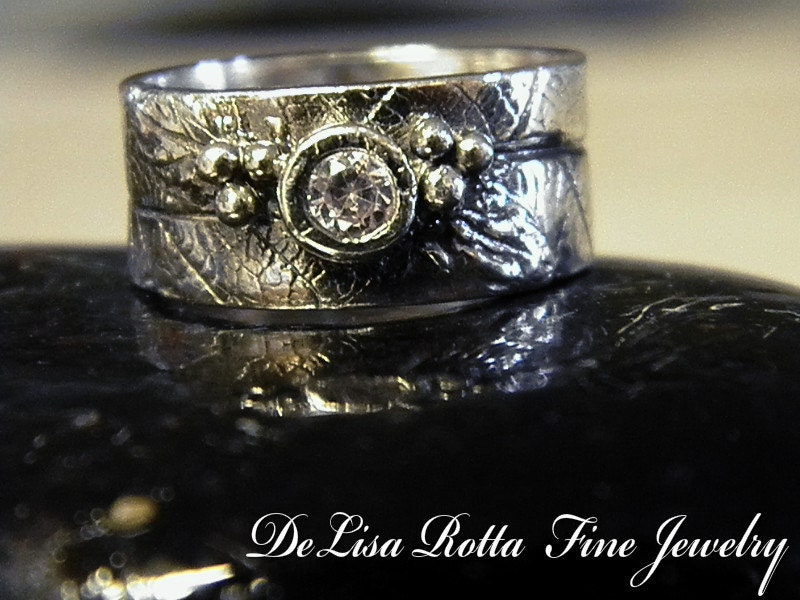 Recycled Silver Grape Leaf Ring Wedding Band