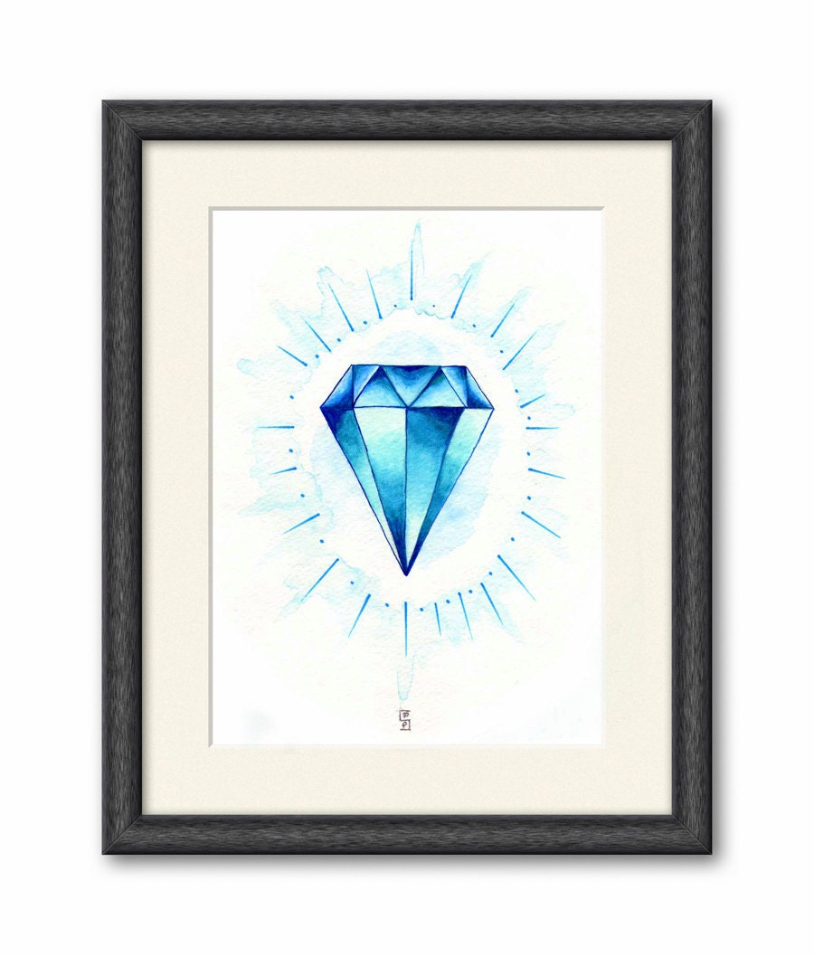 Print. 8x10 Shining Blue Diamond. Watercolor Painting - 204 - 2142stuart
