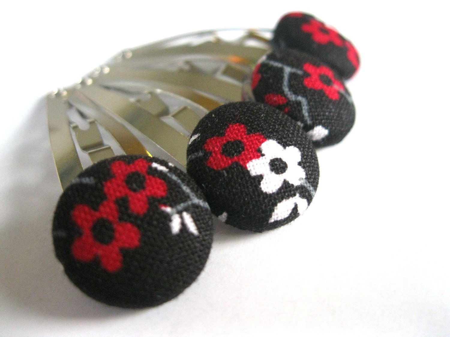 Snap Hair Clips : Funky Hair Barrettes - Set of four  Black, Red, and White Posies