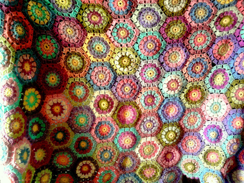 Crochet Hexagonal Granny Squares Afghan Blanket Free Shipment Worldwide