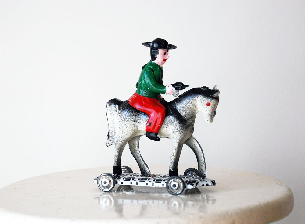 Vintage Tin Toy Horse 1970s by Portugal Pop