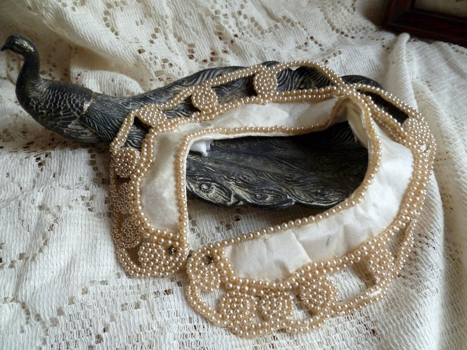 Vintage Satin and Pearl Collar Necklace