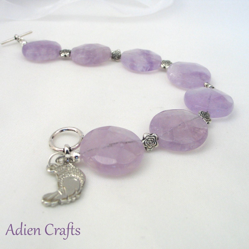 Amethyst Bracelet Purple Jewelry Brazilian Amethyst Daisy Beads and Bird Charm Gift Boxed - adiencrafts