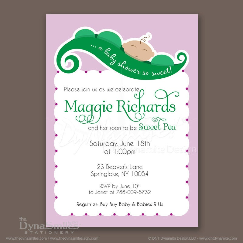 Sweet Pea in Pod - Baby Shower Invitations