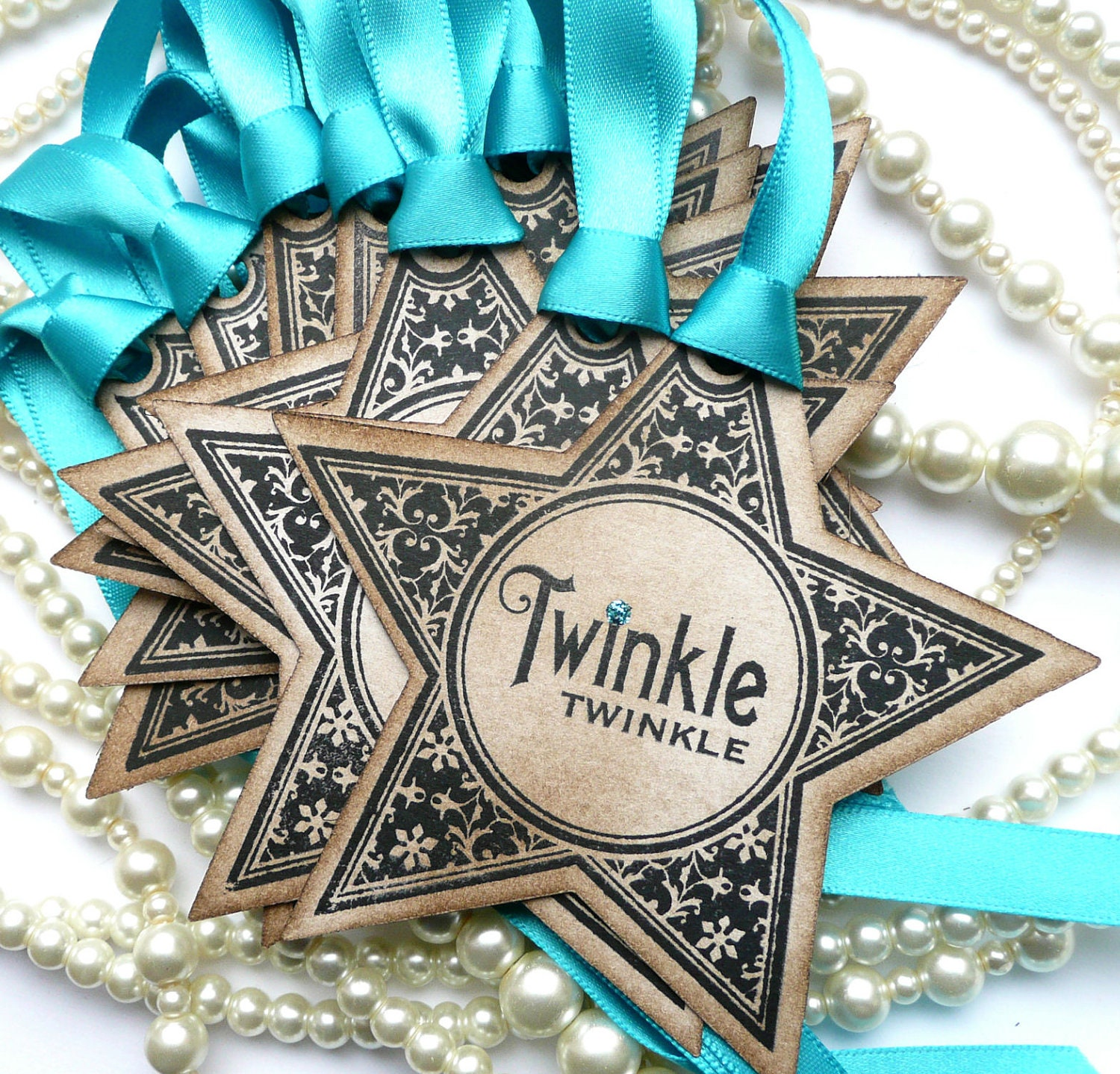 Christmas Gift Tag Twinkle Stars - Vintage Style - Turquoise Glitter - Set of 10 - amaretto