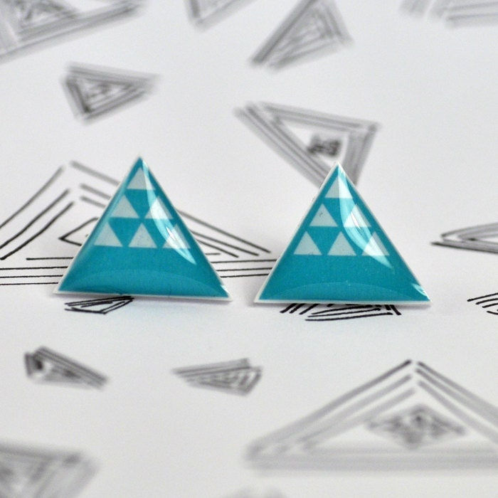 Blue Oasis Desert Dune Post Earrings - Hypoallergenic Surgical Stainless Steel Posts