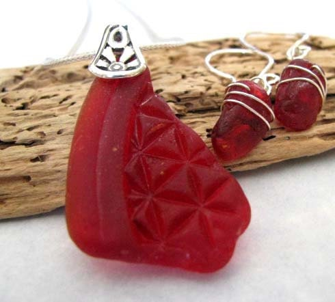 Spectacular Red Sea Glass Jewelry Set