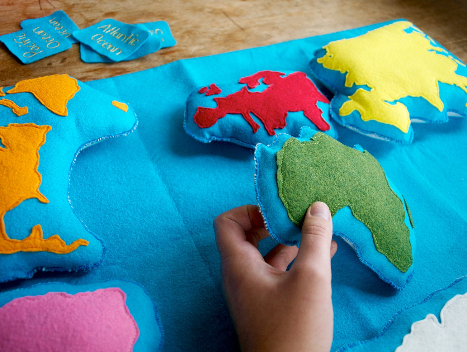Handmade Montessori Work - Wool Felt Continent Geography learning tool from The Handmade Classroom - TheHandmadeClassroom