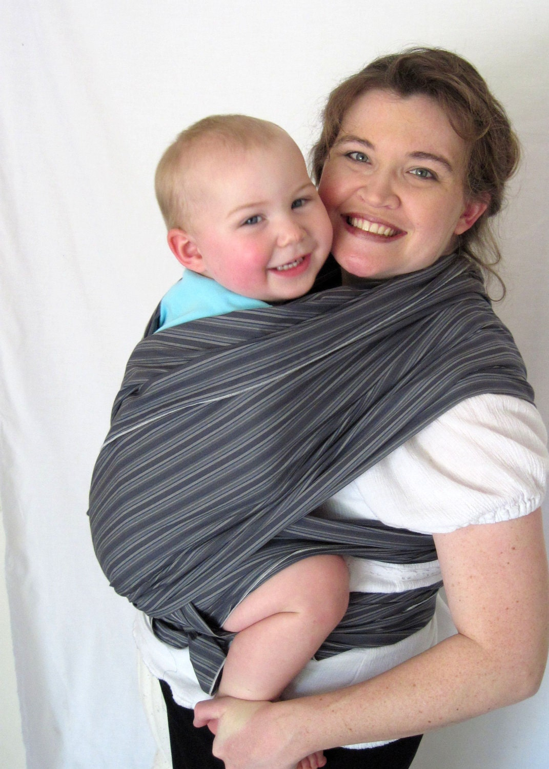 Woven Wrap Baby Sling Carrier - Smooth Charcoal Stripe Cotton - DVD included