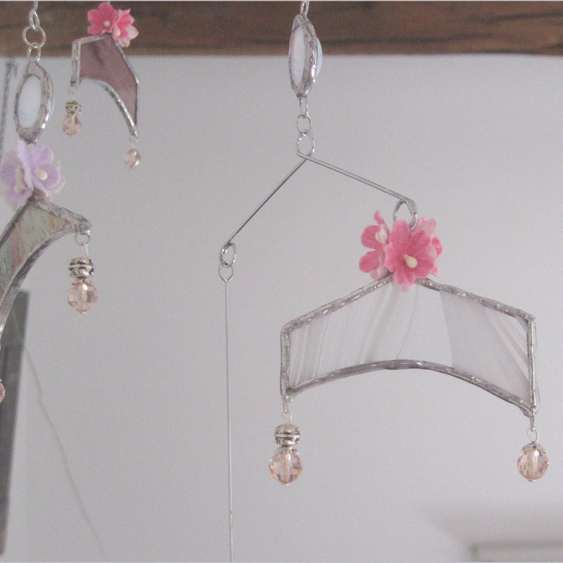 Dancing Light a gentle mobile of stained glass, paper flowers and glass beads