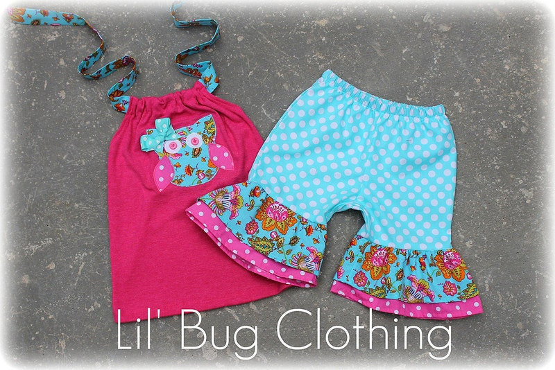 Custom Boutique Clothing Teal and Pink Paisly Owl Spring  Short and Halter Top