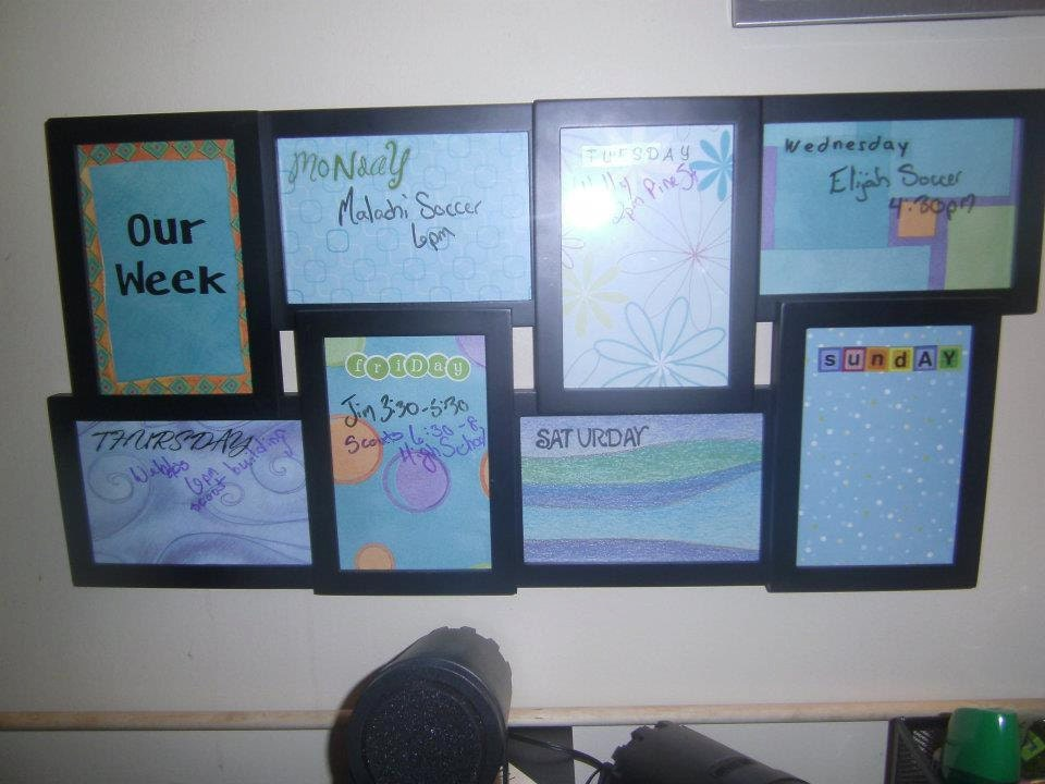 Days of the week dry-erase board