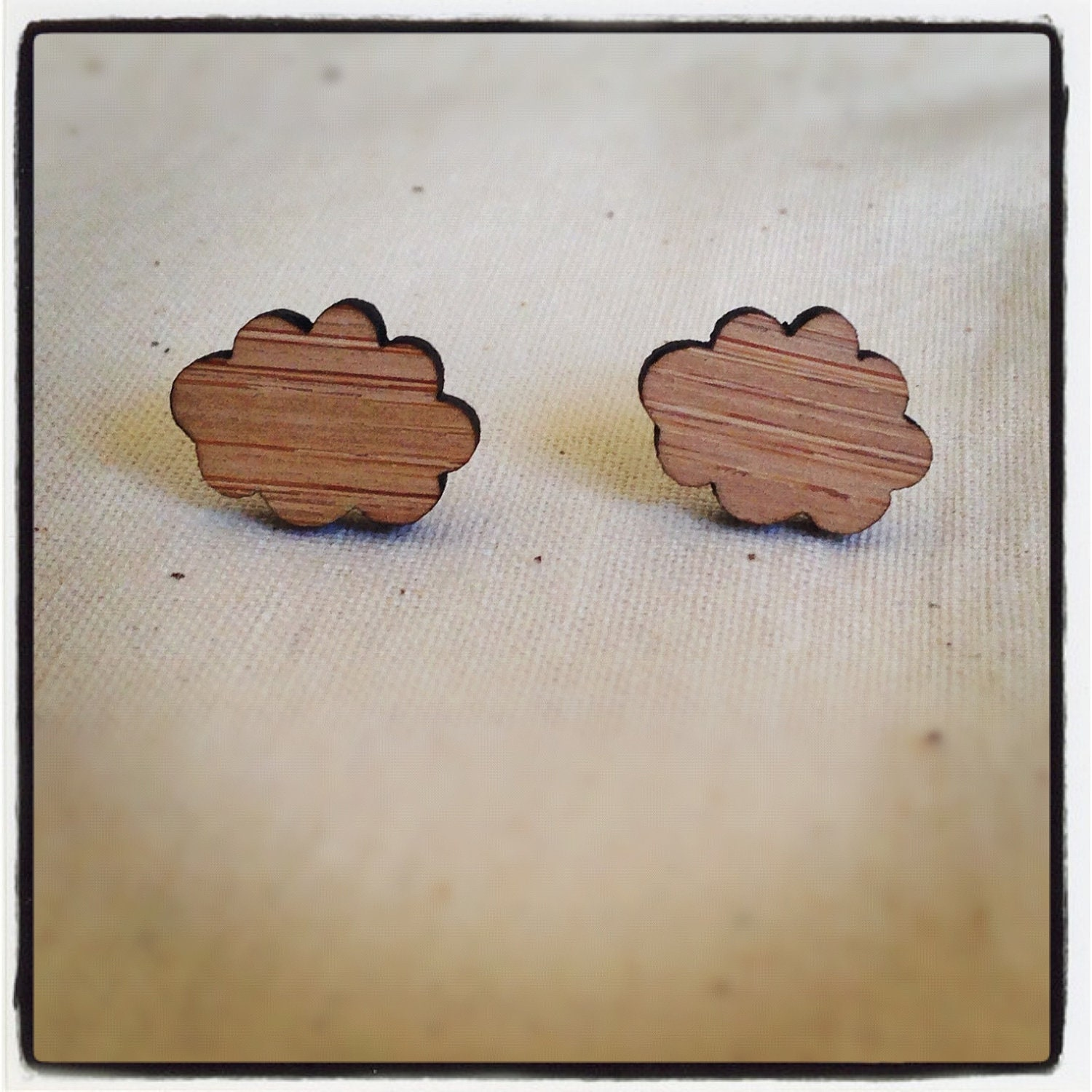 Wooden eco friendly wood cloud studs earrings - gift for her