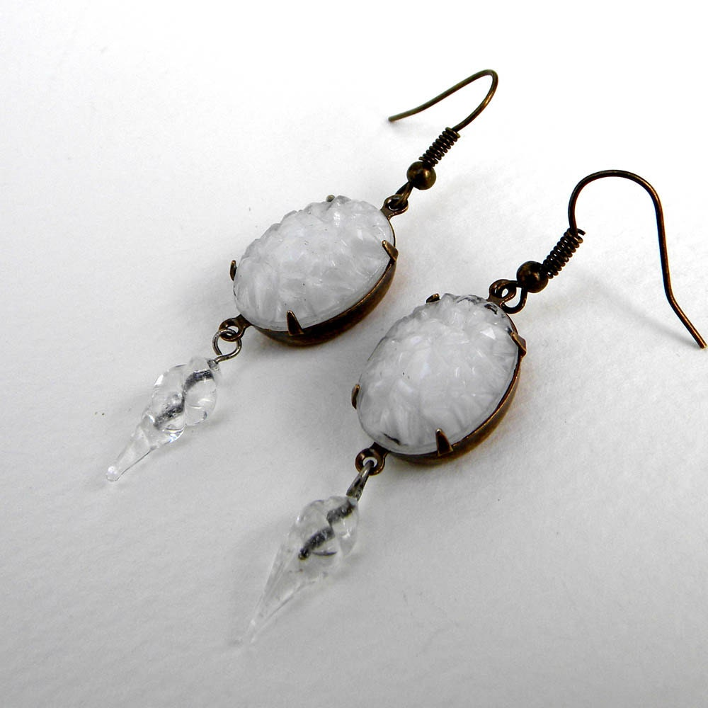 Earrings -  Snowballs and Icicles   - Vintage Snowy White Cabs and Icicle DanglesS