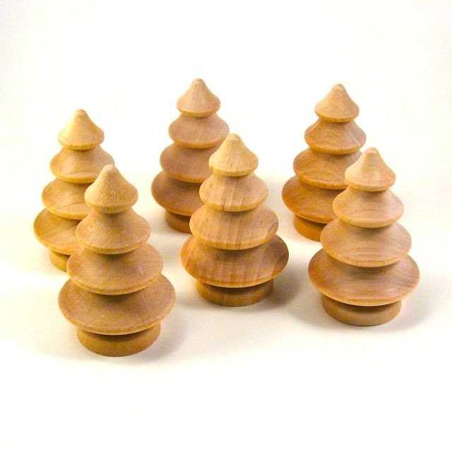 Half Dozen Cute Little Wooden Christmas Trees