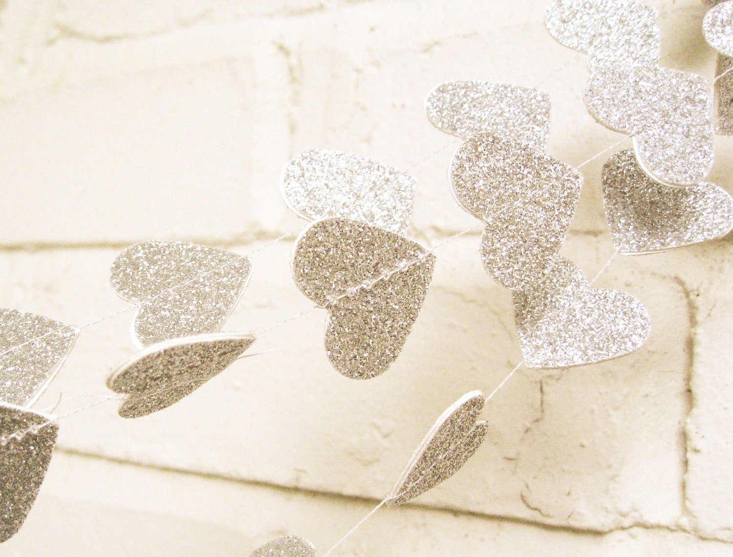 The Amore Garland, Hearts, Silver Glitter Hearts,  Wedding Garland, Wedding Shower, Valentine's Day