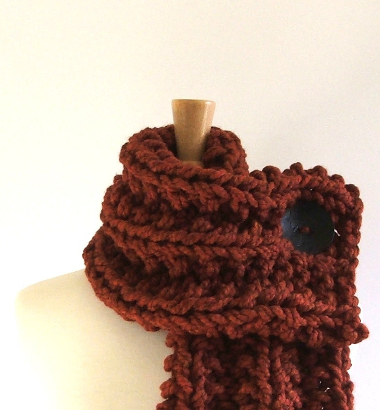 Chunky Knit Spice Brown Cowl Scarf with Large Black Button - AMarieKnits