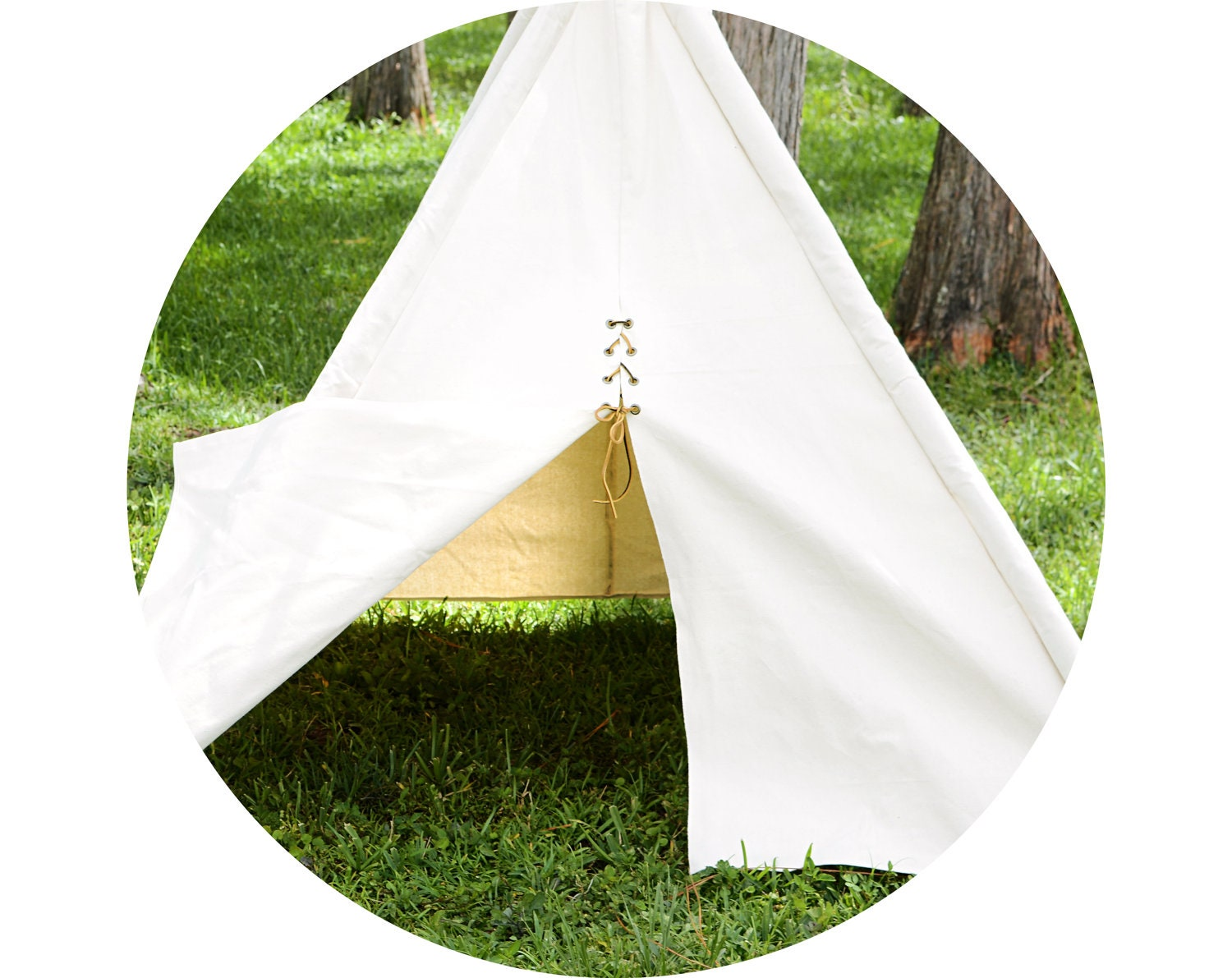 Canvas Teepee - Fold Away Tepee With Bamboo Poles