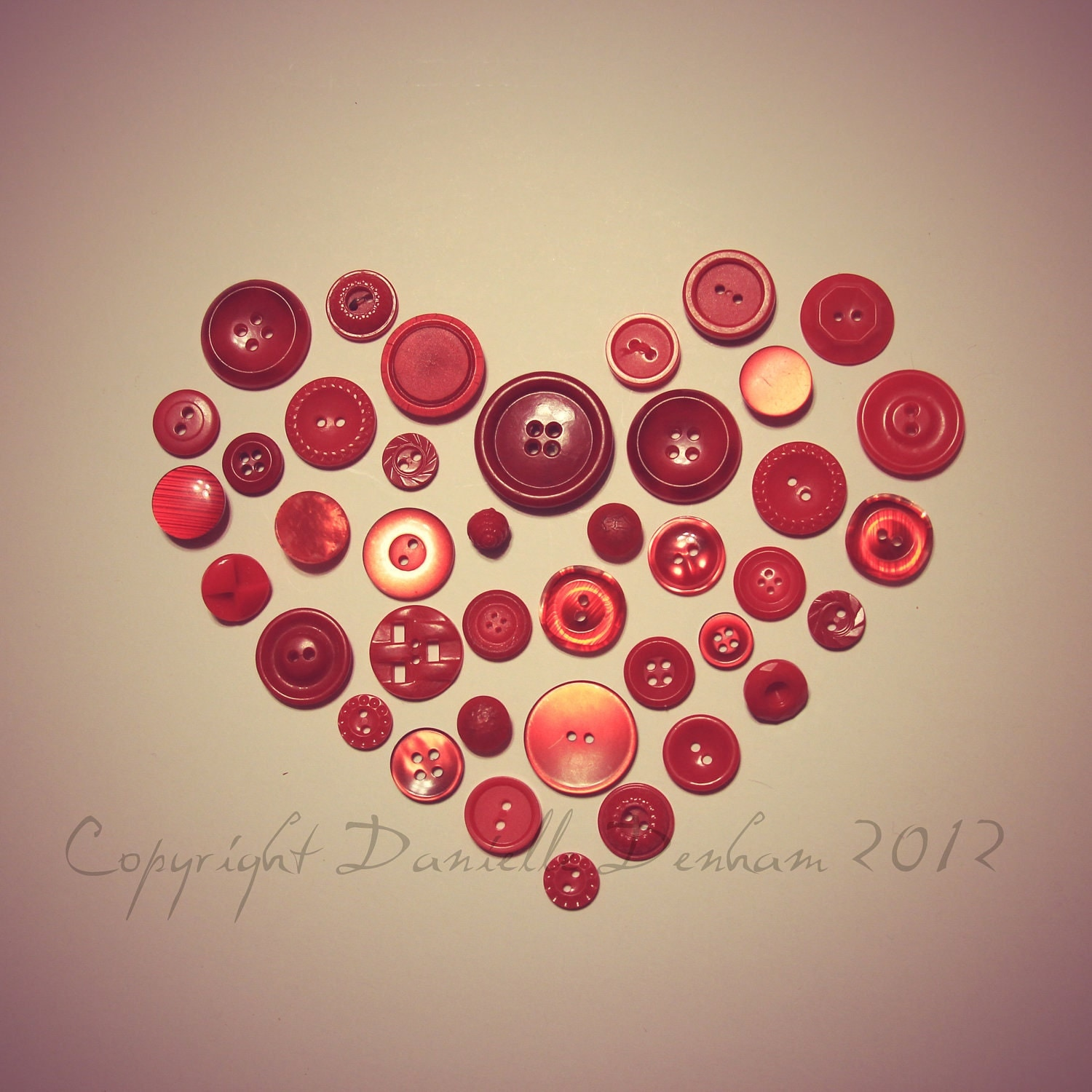 Vintage Style Photo Red Buttons Heart--Fine Art Lomography 8x8 - ThePDXPhotographer