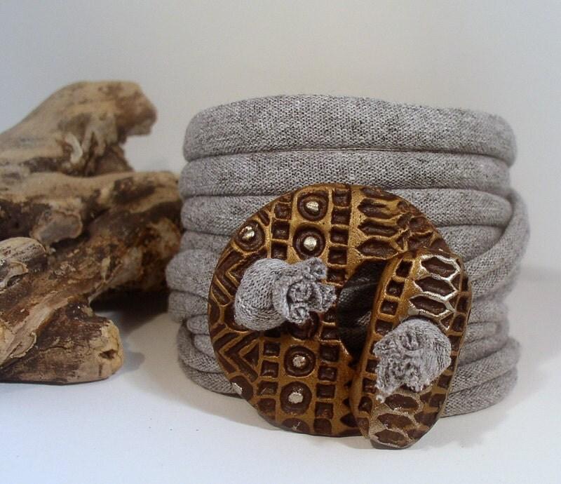 Wrap Bracelet - Anklet - Necklace - Faux Metal - Textured Toggle - Wide Wrap