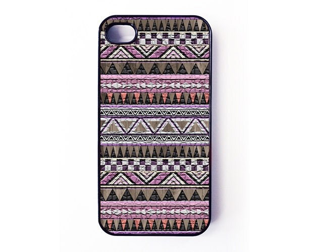 Iphone 4 Case - Aztec Pattern On Wood iPhone case for iPhone 4 / 4S - plastic or rubber