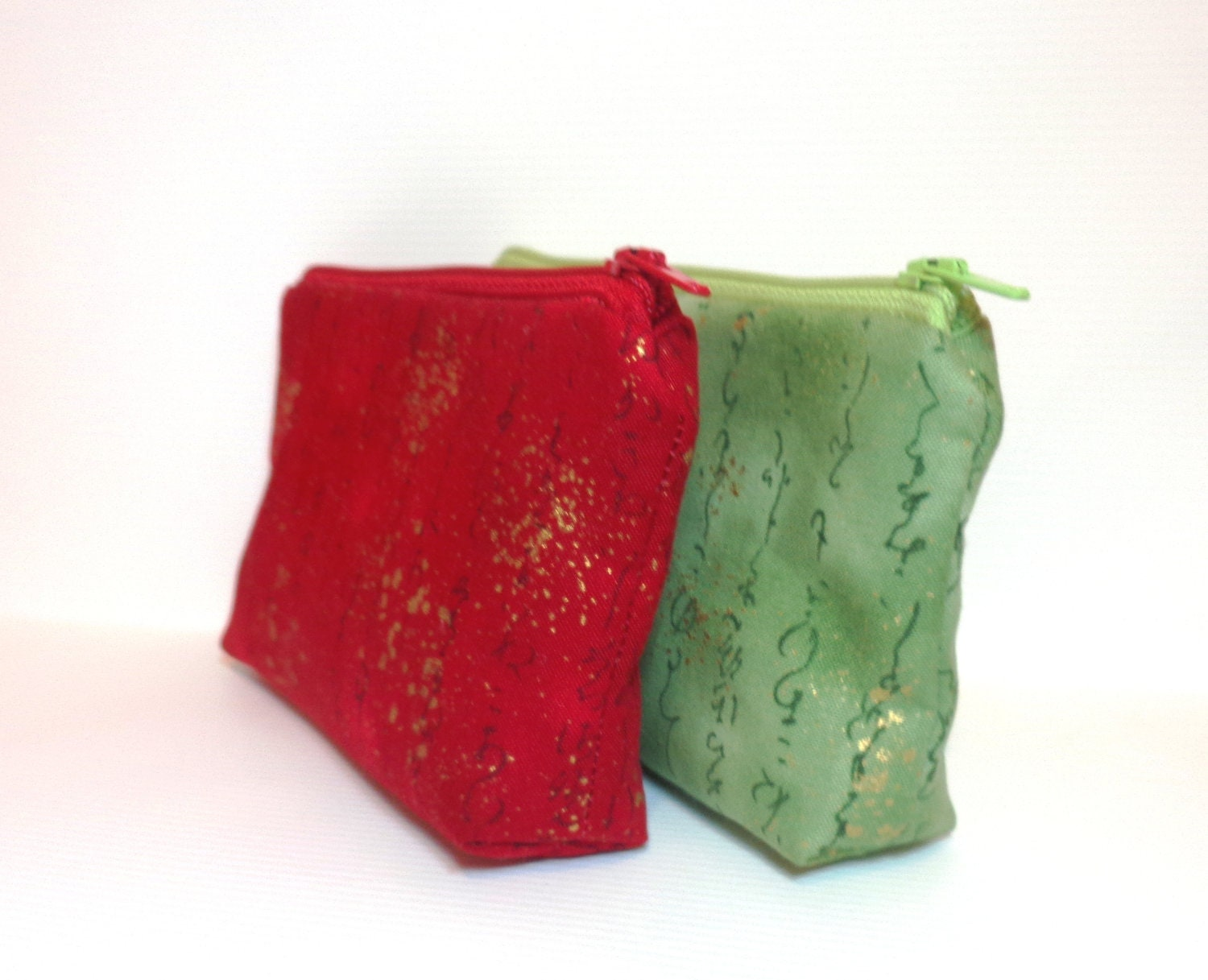 Pouch Set Gift Card Holder Small Cosmetic Bag Red and Green With Gold Highlights - handjstarcreations