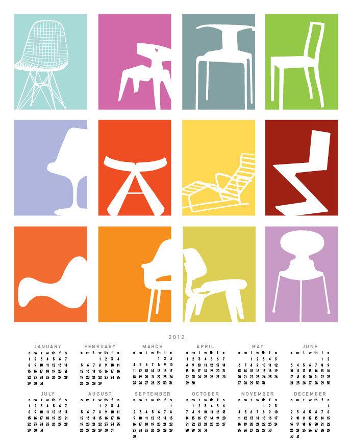 2012 Calendar . 11 x 14 Print . Mid-Century Chairs Calendar Giclee Print
