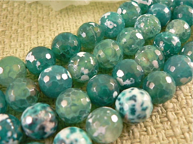 1 strand Green Crackle Agate, 11mm faceted