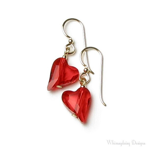 Red Hot Wild Heart Swarovski Crystal 14K Gold Filled Earrings