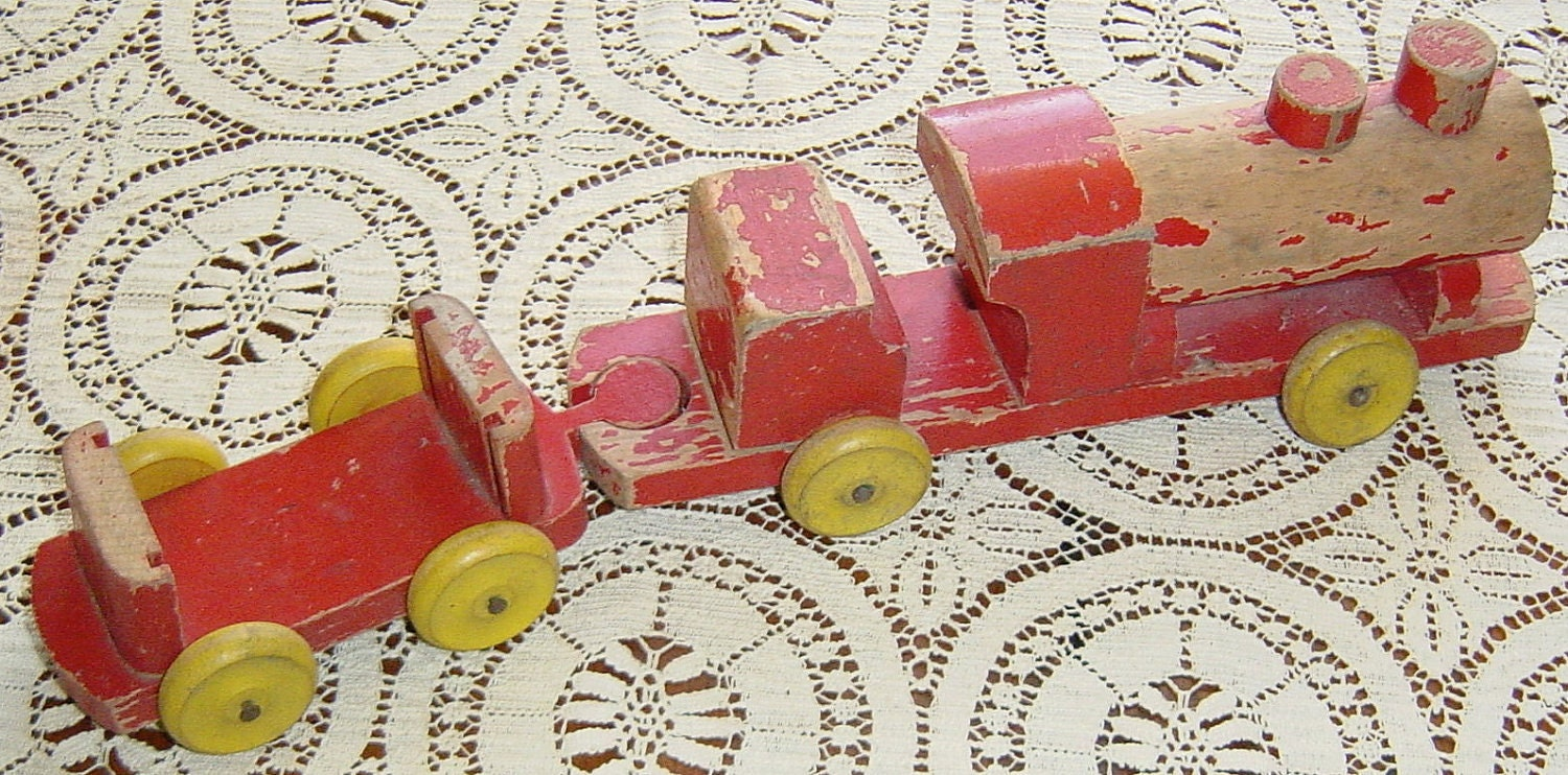 Vintage Antique 1950s Childrens Toy Train Red and Yellow Wood Chad Valley