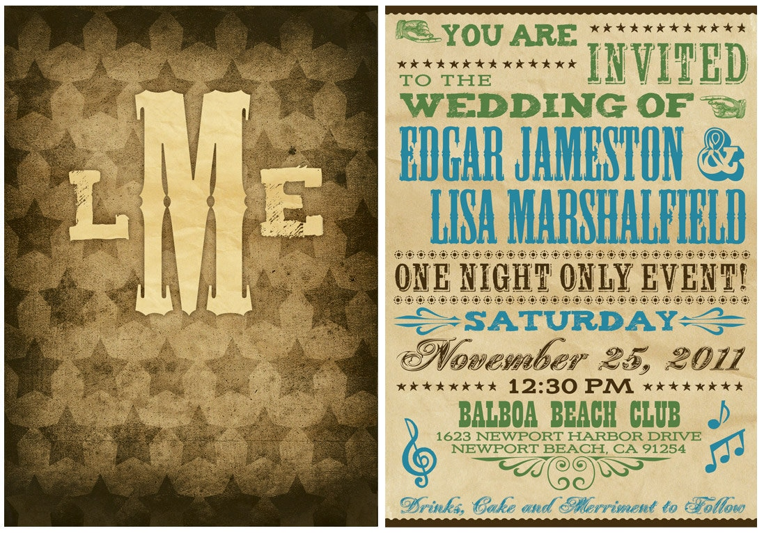 Vintage, Western Hatch Show Inspired, Wedding Invitation Suite